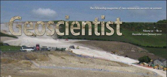 Εξώφυλλο του περιοδικού Γεωεπιστήμονας (Geoscientist), Δεκέμβριος 2010