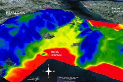 Χάρτης ειδικής αντίστασης της ηλεκτρομαγνητικής μελέτης από ελικόπτερο της Fugro