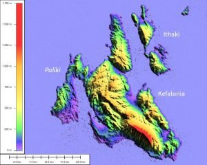 Kefalonia and Ithaki elevation map