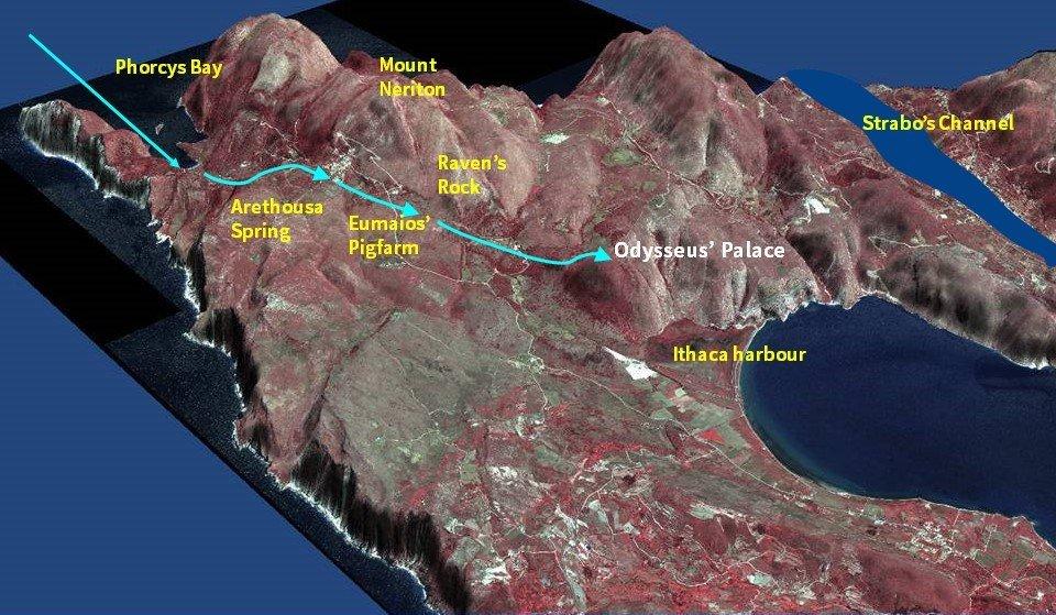 Odysseus route across Paliki EN