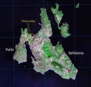 Thinia graphic Kefalonia map